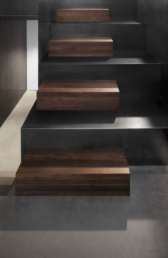 Minimalist Wood and Concrete Stairs