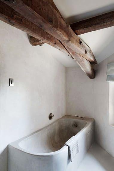 Minimalist Wood and Concrete Bathroom